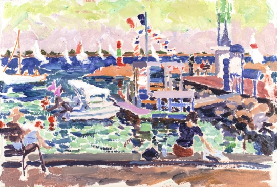 HG1181 The End of the Day Sailing Boats at Marseillan Oil on board 15 1/2