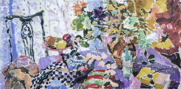 HG1229 Winter Light/ Still Life with Flowers and a Silver Teapot Oil on Canvas 24