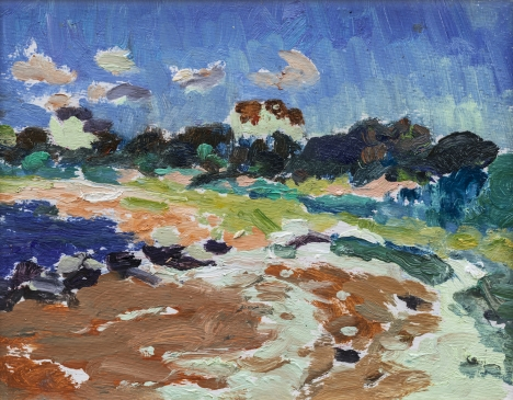 HG1264 Block Island Beach with the Little Green House  Oil on Board 9 1/2