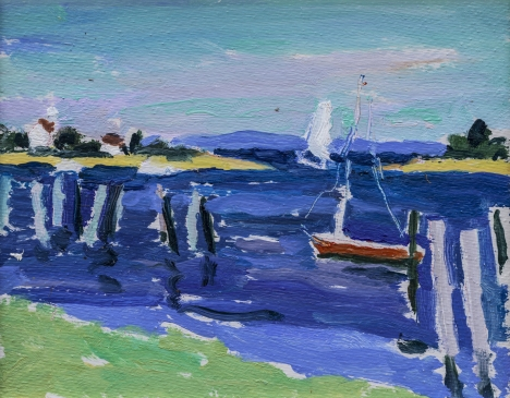 HG1265 Block Island Seascape with Boats 9 1/2