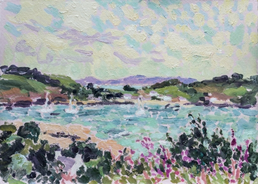 Looking towards Tresco and St Martin's (HG1325)  Oil on Board 14