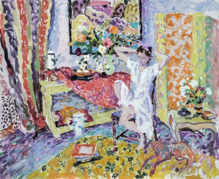 """Interior with Young Woman (HG1318) Oil on Canvas 38"""" x 46"""""""
