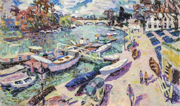 """Spring Day: the Thames at Richmond (HG1321) Oil on Canvas 30"""" x 50"""""""