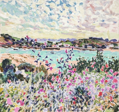 """Looking towards St Martin's, Isles of Scilly (HG1342) Oil on Canvas 34"""" x 36"""""""