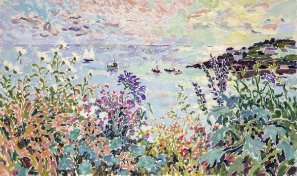 "A Cornish Sunrise (HG1357) Oil on Canvas 30"" x 50"""