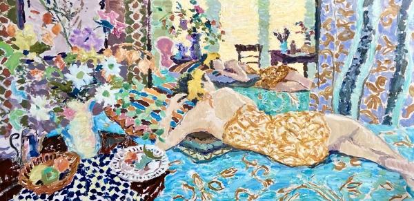 'Freya Reclining - Morning Light' (HG1157)  Oil on canvas 30