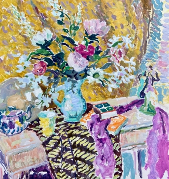 'Still Life in Yellow and Pink' Oil on canvas 36