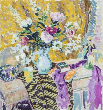'Still Life in Yellow and Pink' (HG1366) Oil on canvas 36
